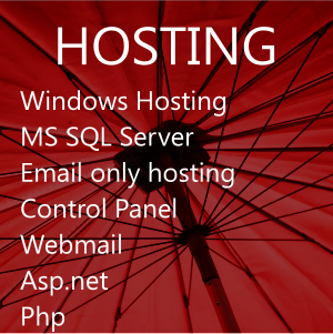 Web hosting, reseller hosting, MS SQL Server 2012, email hosting, domain names.